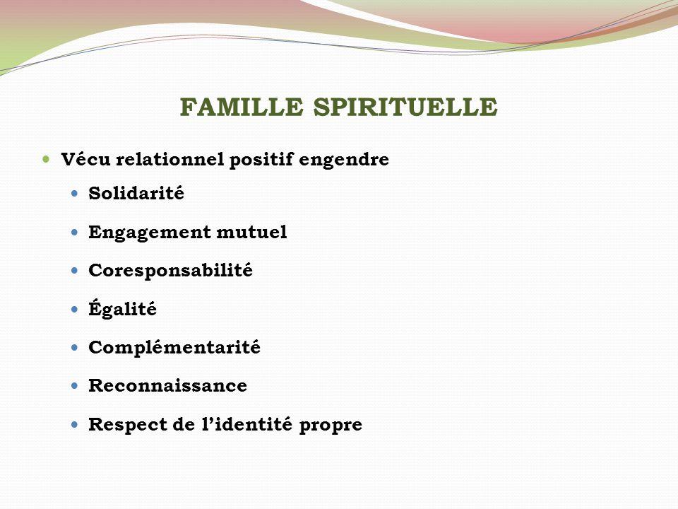 FAMILLE SPIRITUELLE Vécu relationnel positif engendre Solidarité