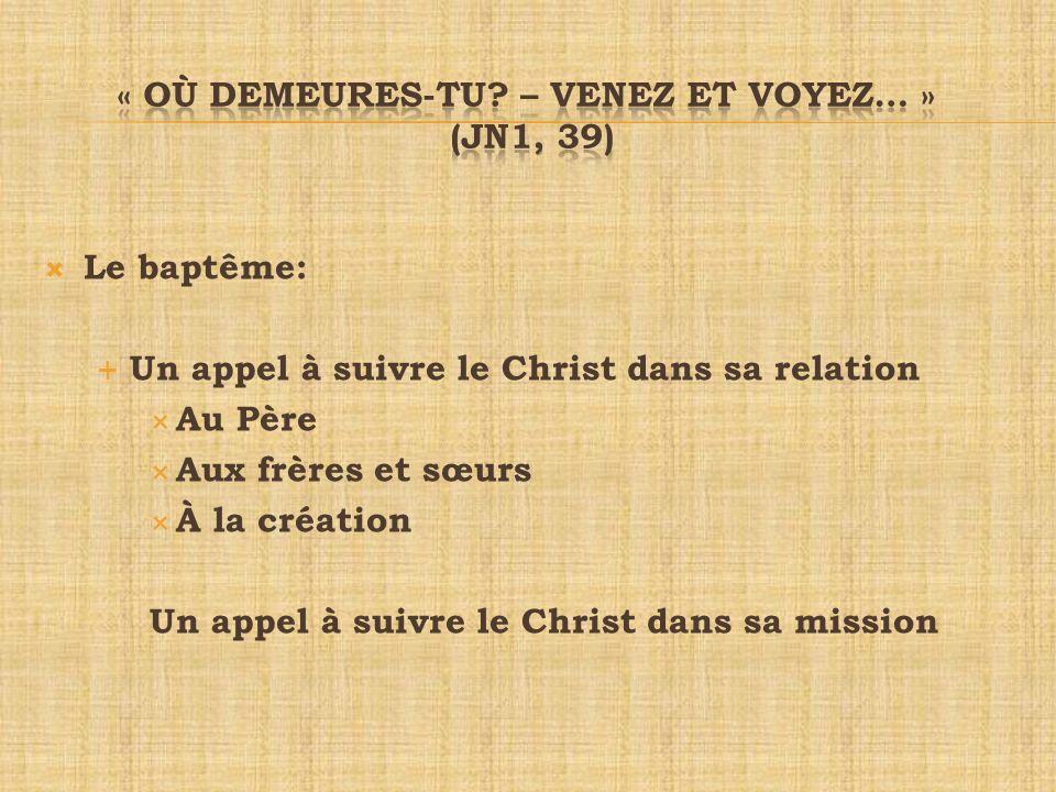 « où demeures-tu – venez et voyez… » (Jn1, 39)
