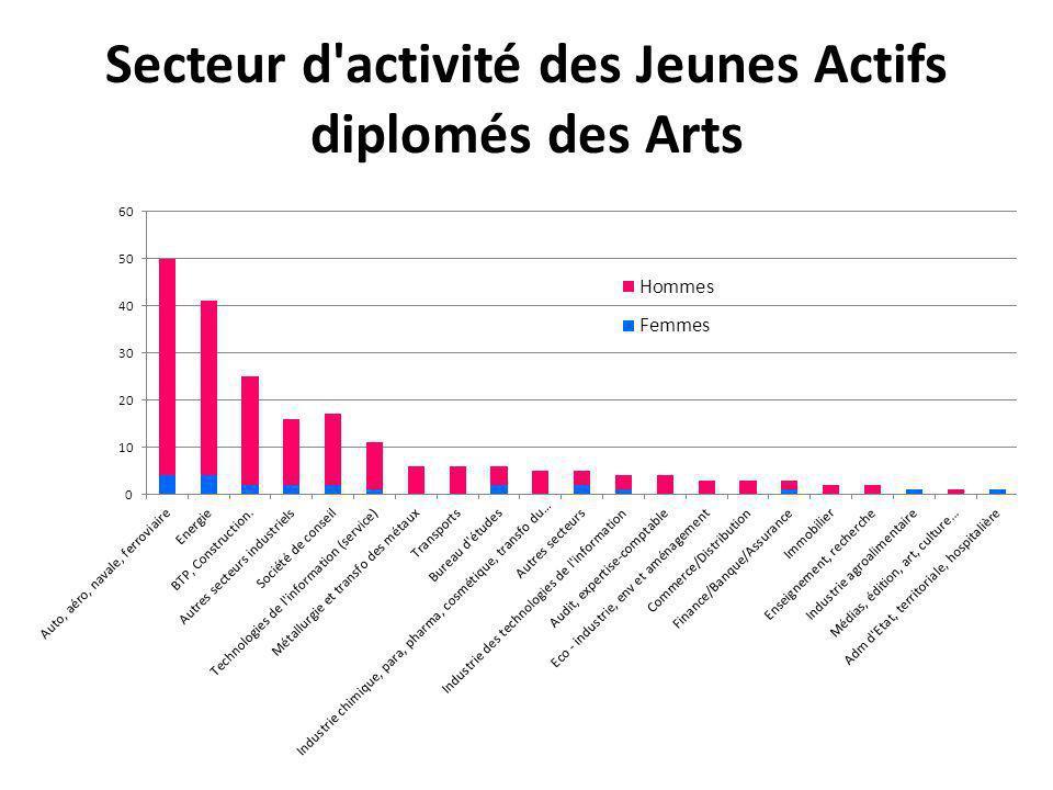 Secteur d activité des Jeunes Actifs diplomés des Arts