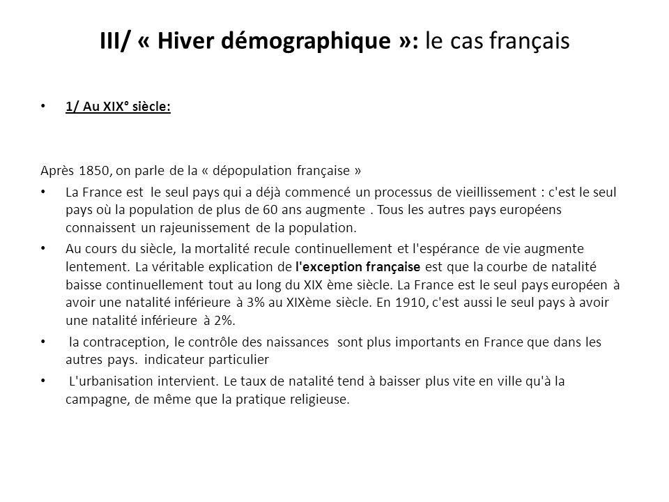 III/ « Hiver démographique »: le cas français