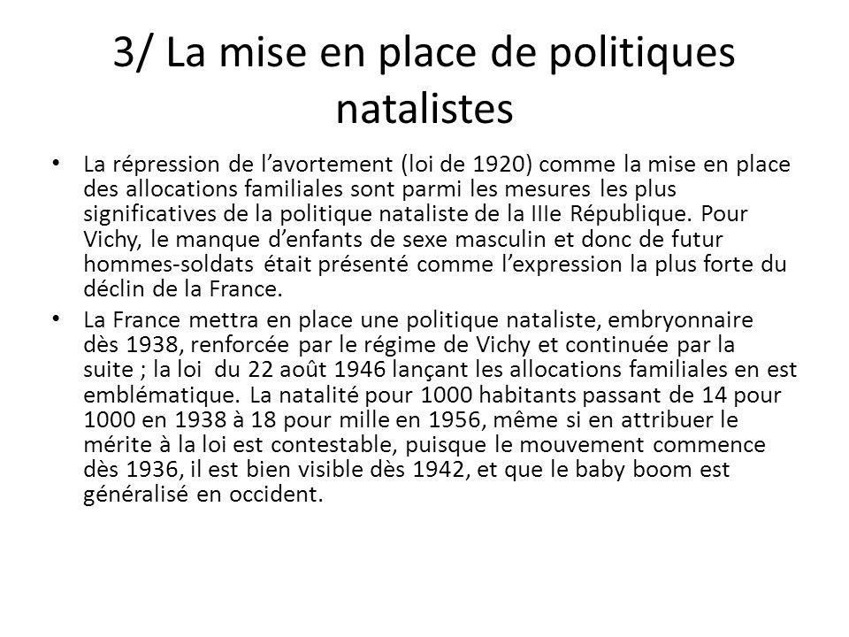 3/ La mise en place de politiques natalistes