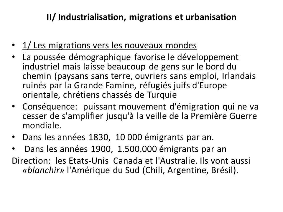 II/ Industrialisation, migrations et urbanisation