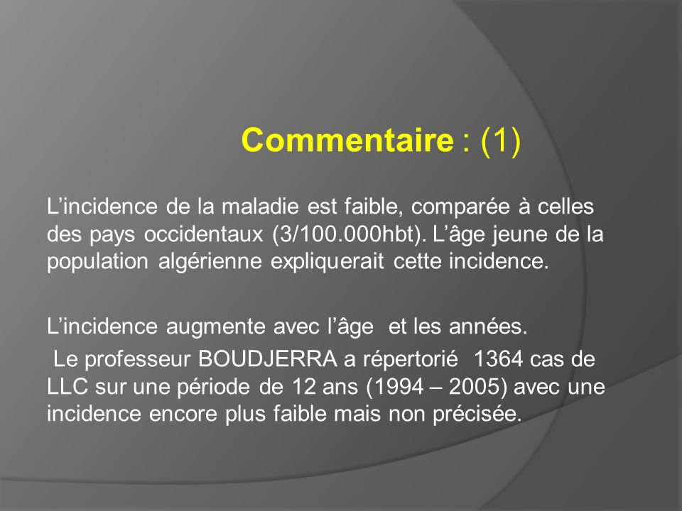 Commentaire : (1)