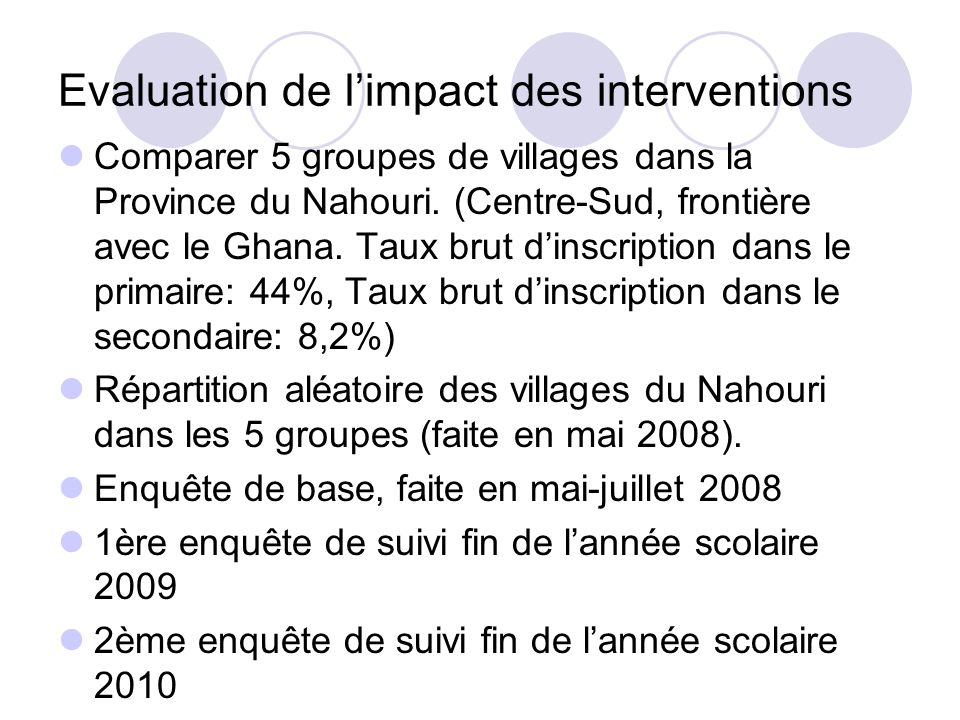Evaluation de l'impact des interventions