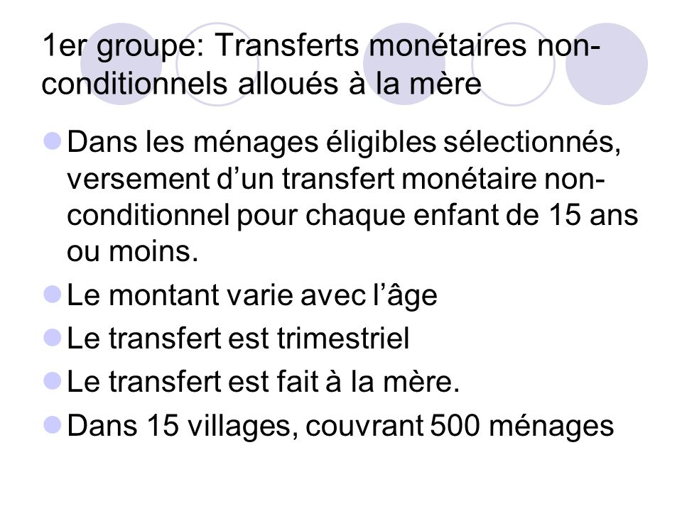 1er groupe: Transferts monétaires non-conditionnels alloués à la mère