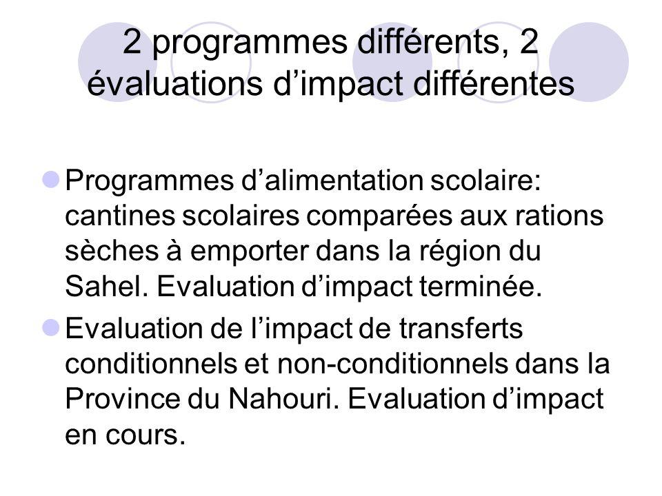 2 programmes différents, 2 évaluations d'impact différentes