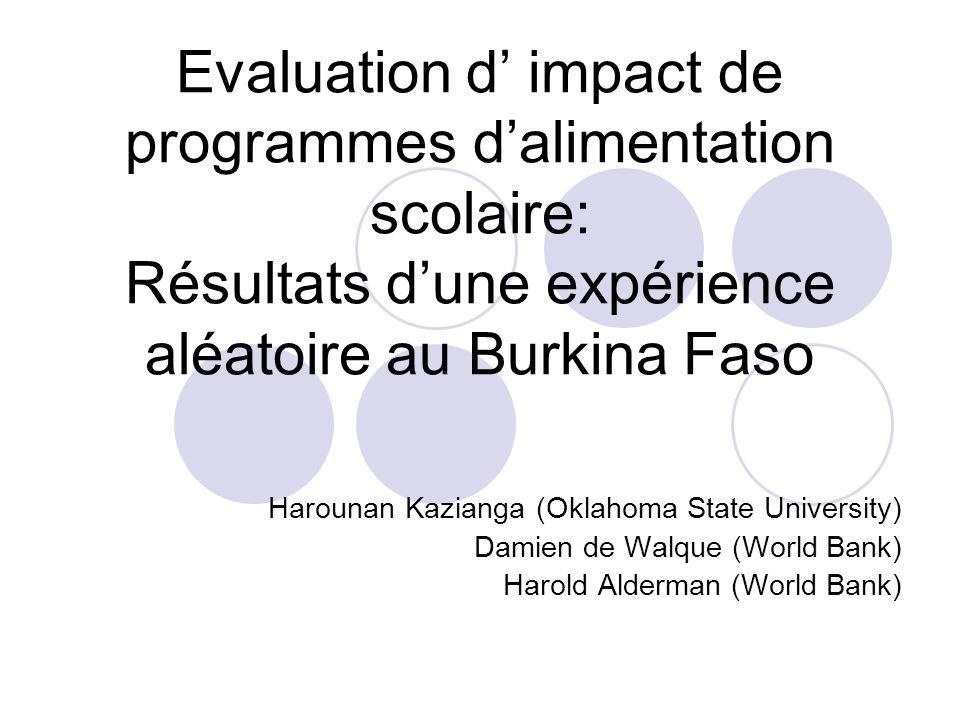 Evaluation d' impact de programmes d'alimentation scolaire: Résultats d'une expérience aléatoire au Burkina Faso