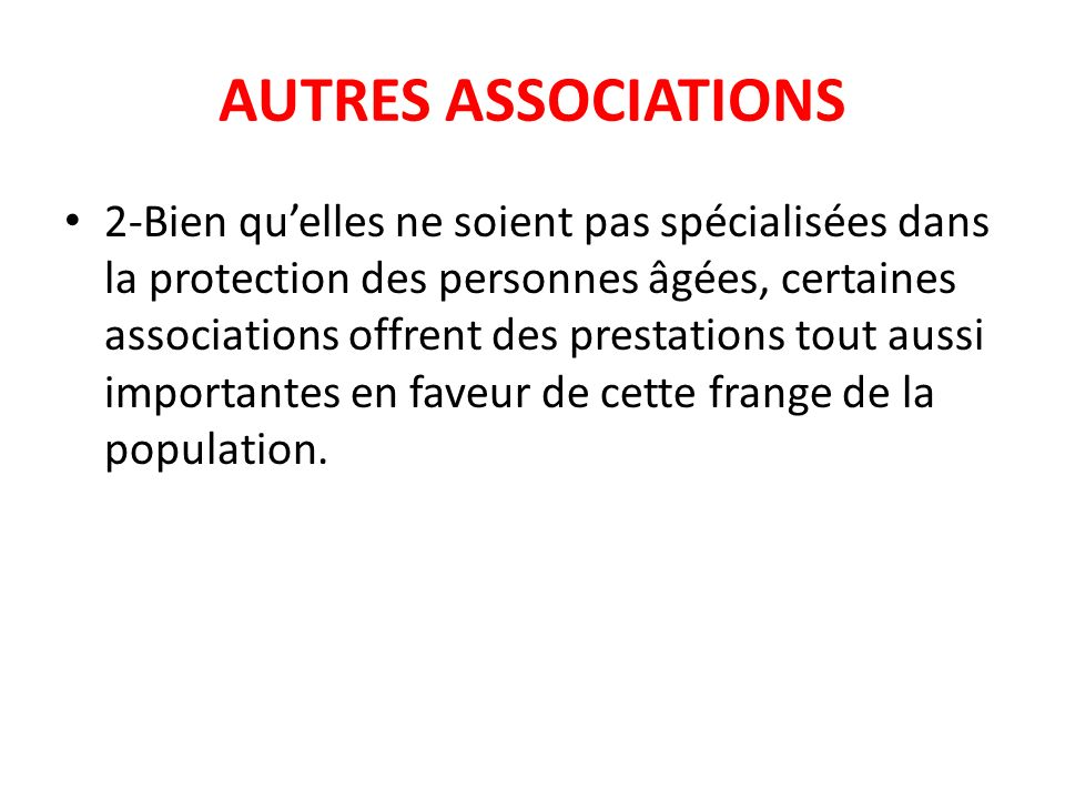 AUTRES ASSOCIATIONS