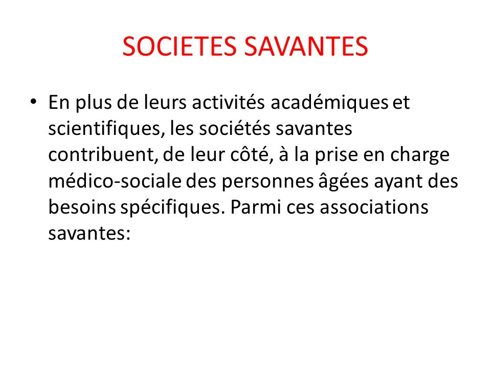 SOCIETES SAVANTES