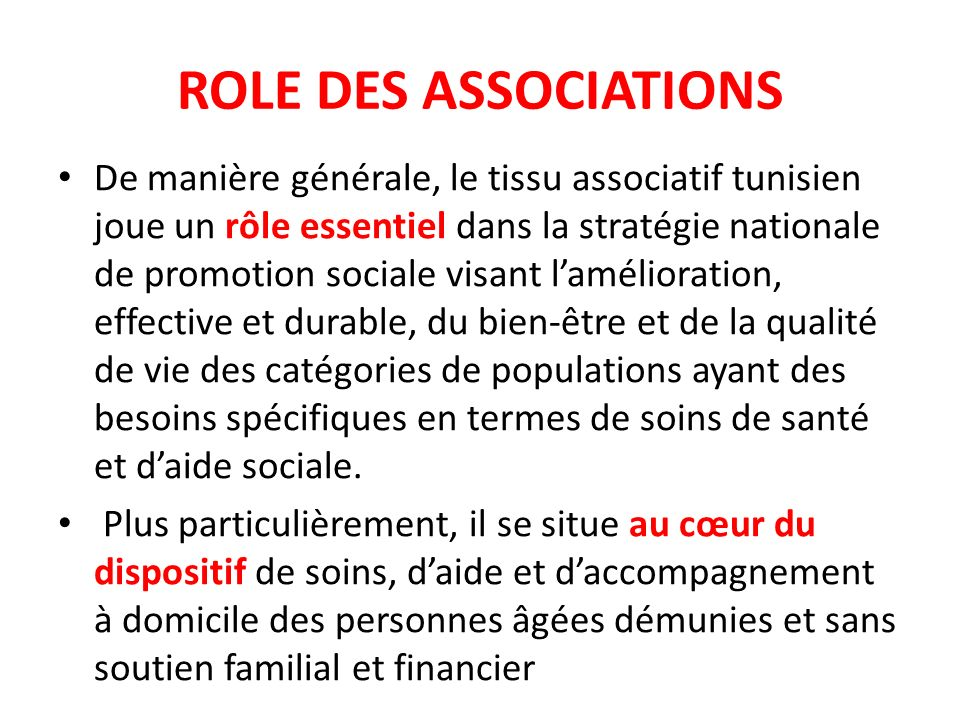 ROLE DES ASSOCIATIONS