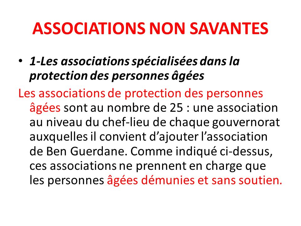 ASSOCIATIONS NON SAVANTES