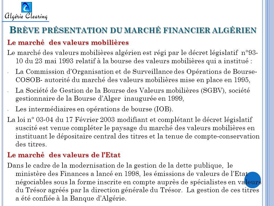 Brève présentation du marché financier algérien