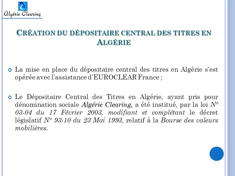 Création du dépositaire central des titres en Algérie