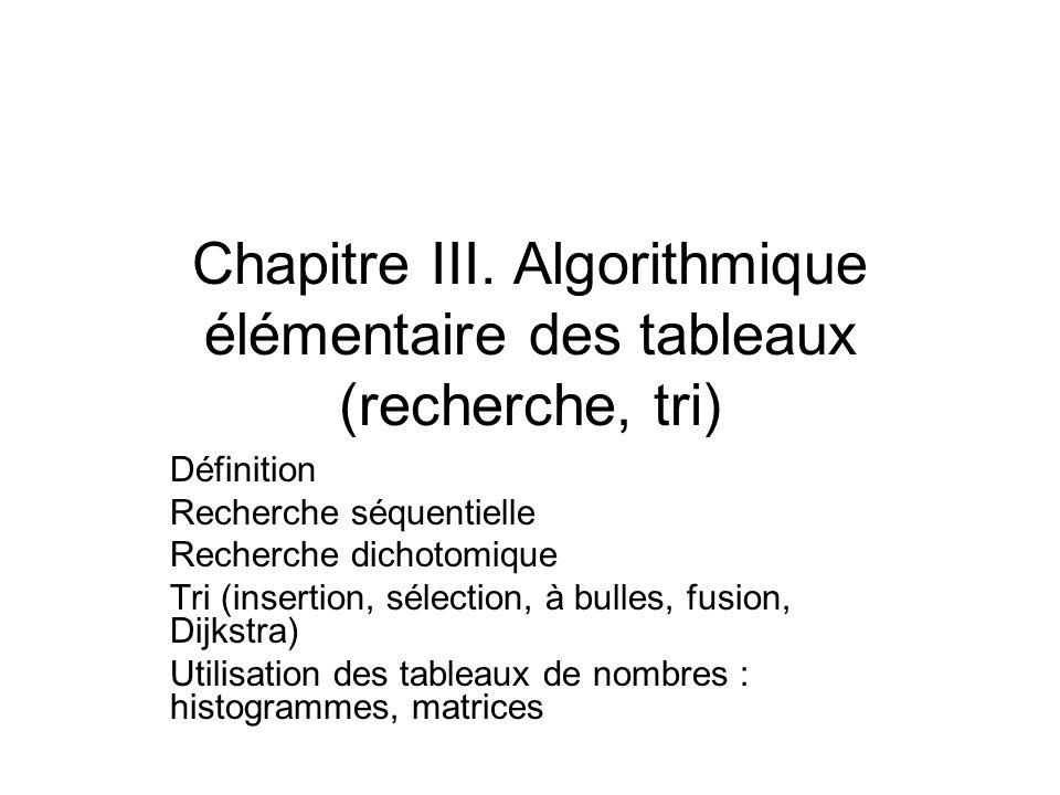Chapitre III. Algorithmique élémentaire des tableaux (recherche, tri)
