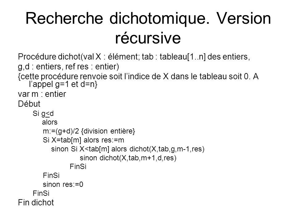 Recherche dichotomique. Version récursive