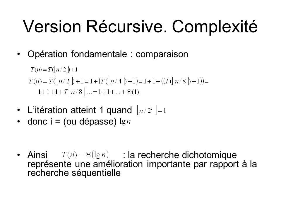 Version Récursive. Complexité