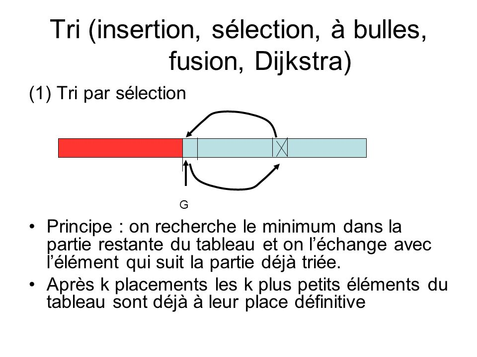 Tri (insertion, sélection, à bulles, fusion, Dijkstra)