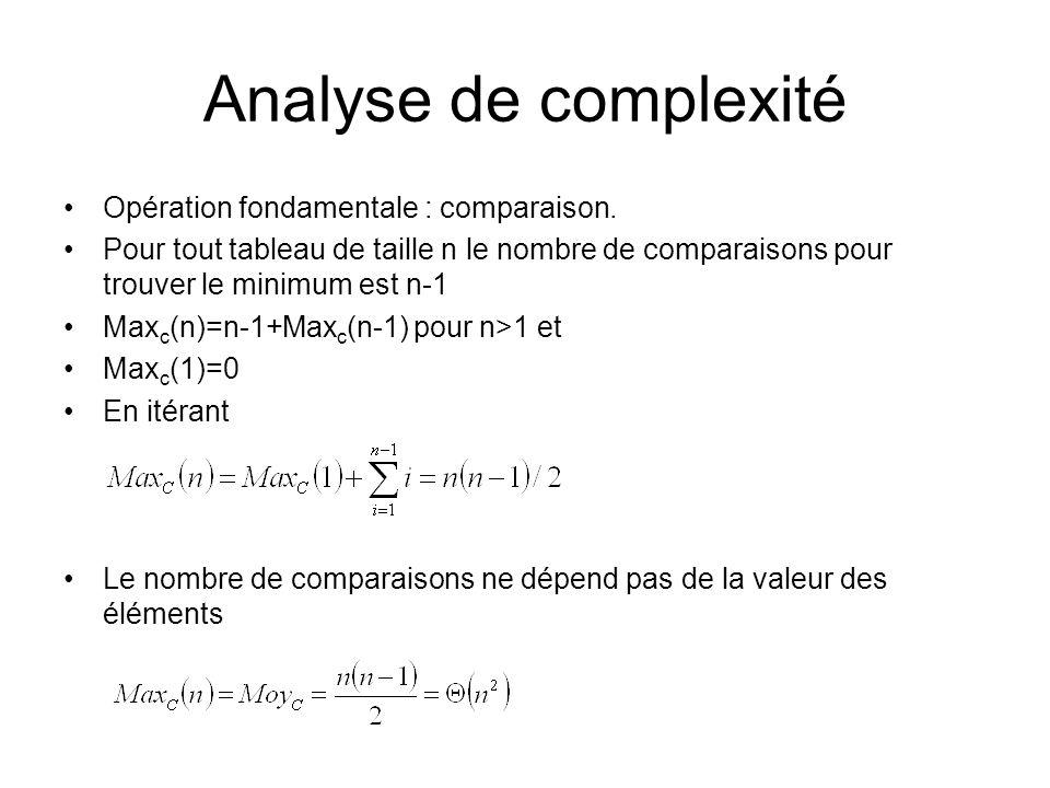 Analyse de complexité Opération fondamentale : comparaison.
