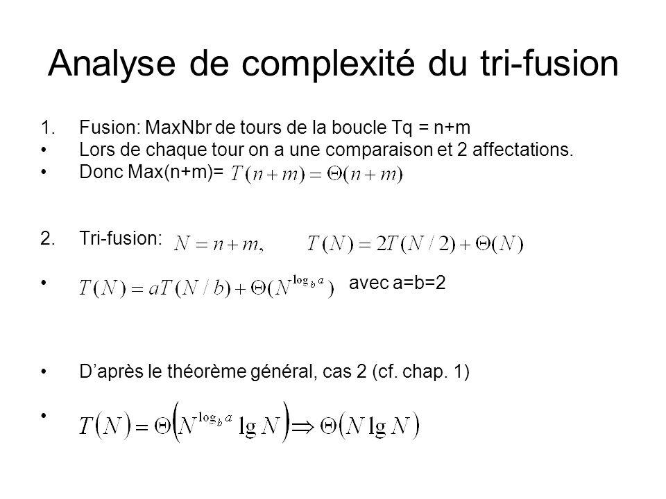Analyse de complexité du tri-fusion