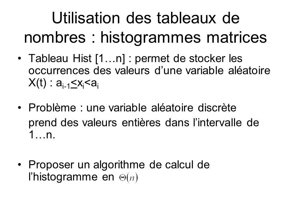 Utilisation des tableaux de nombres : histogrammes matrices