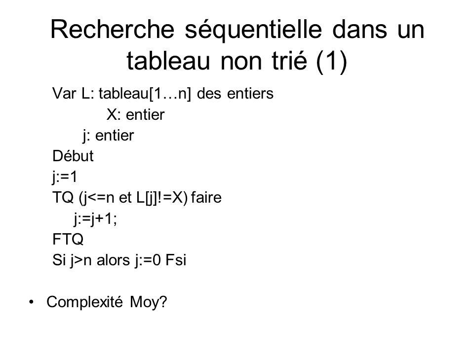 Recherche séquentielle dans un tableau non trié (1)