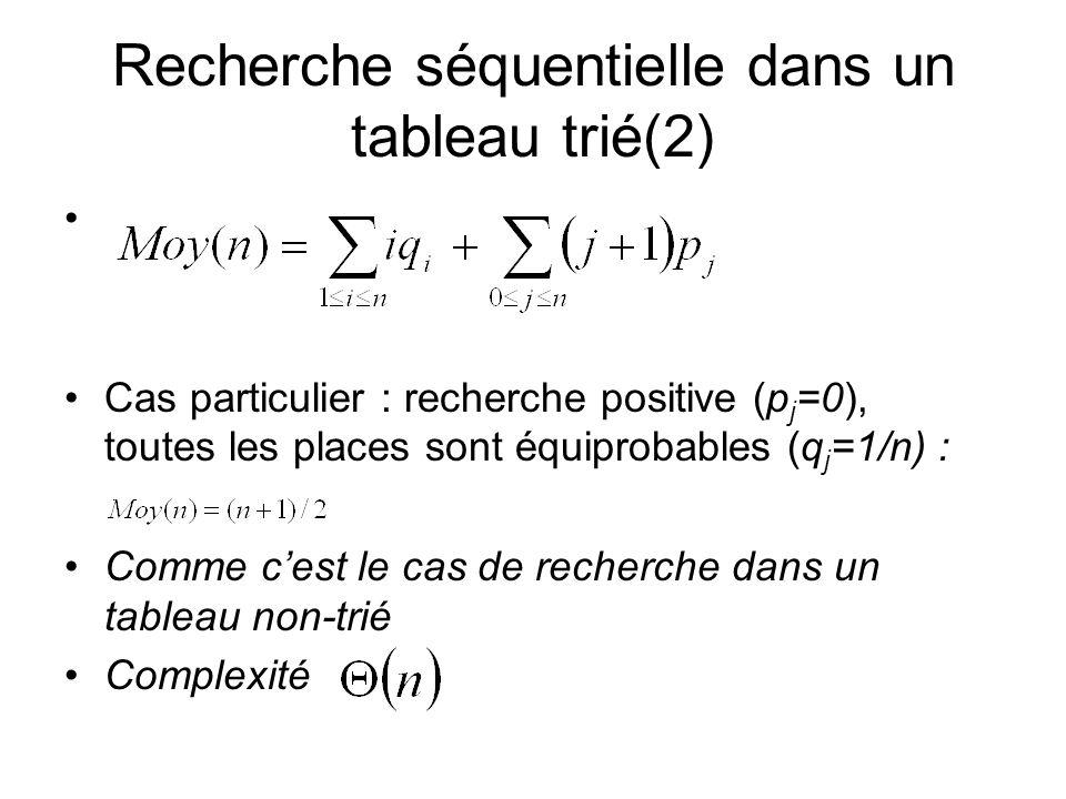 Recherche séquentielle dans un tableau trié(2)