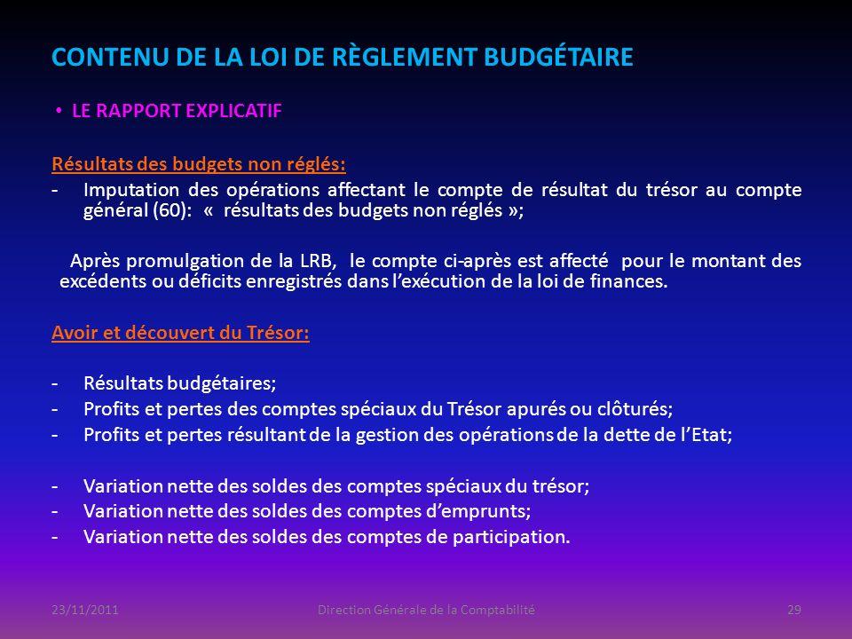 CONTENU DE LA LOI DE RÈGLEMENT BUDGÉTAIRE