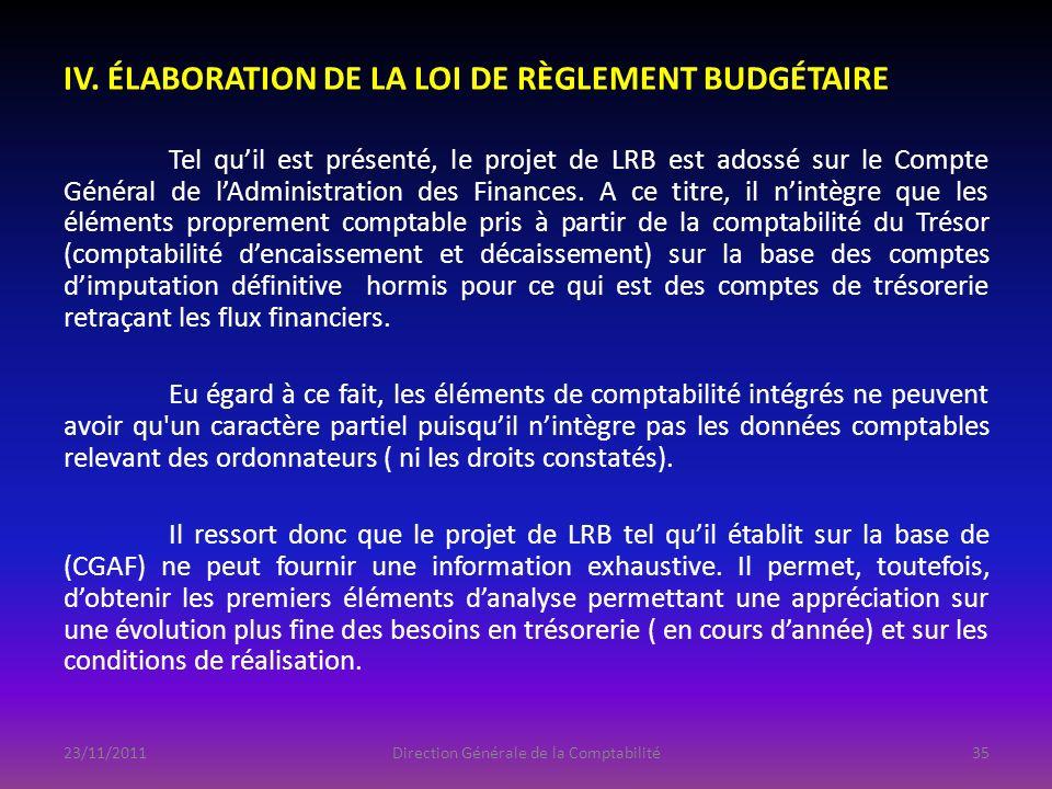 IV. ÉLABORATION DE LA LOI DE RÈGLEMENT BUDGÉTAIRE