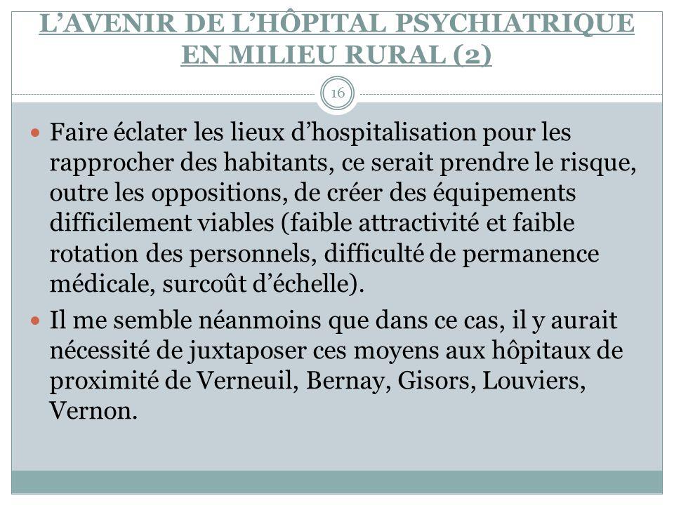 L'AVENIR DE L'HÔPITAL PSYCHIATRIQUE EN MILIEU RURAL (2)
