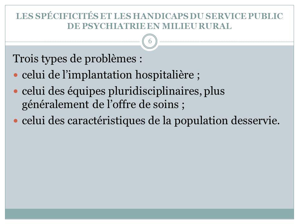 Trois types de problèmes : celui de l'implantation hospitalière ;