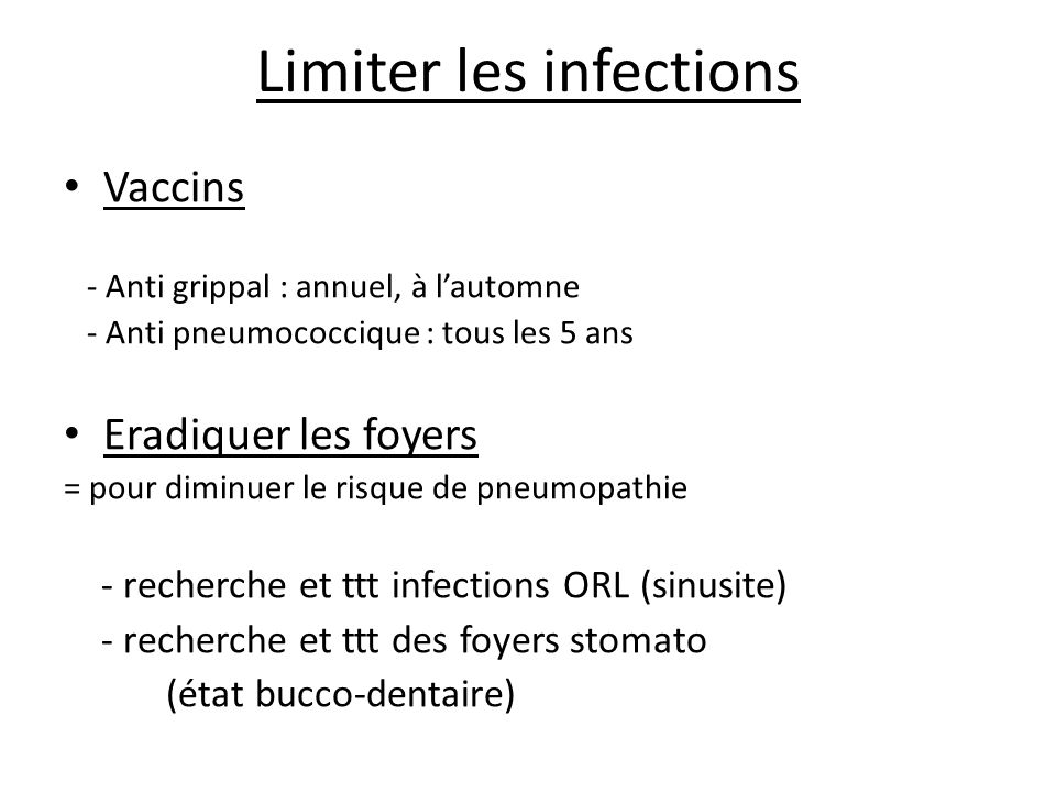 Limiter les infections