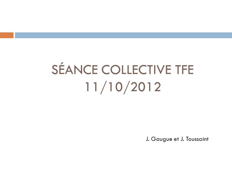 SÉANCE COLLECTIVE TFE 11/10/2012