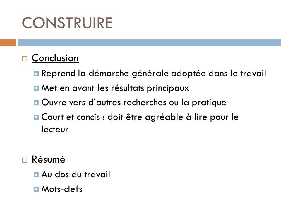 CONSTRUIRE Conclusion Résumé