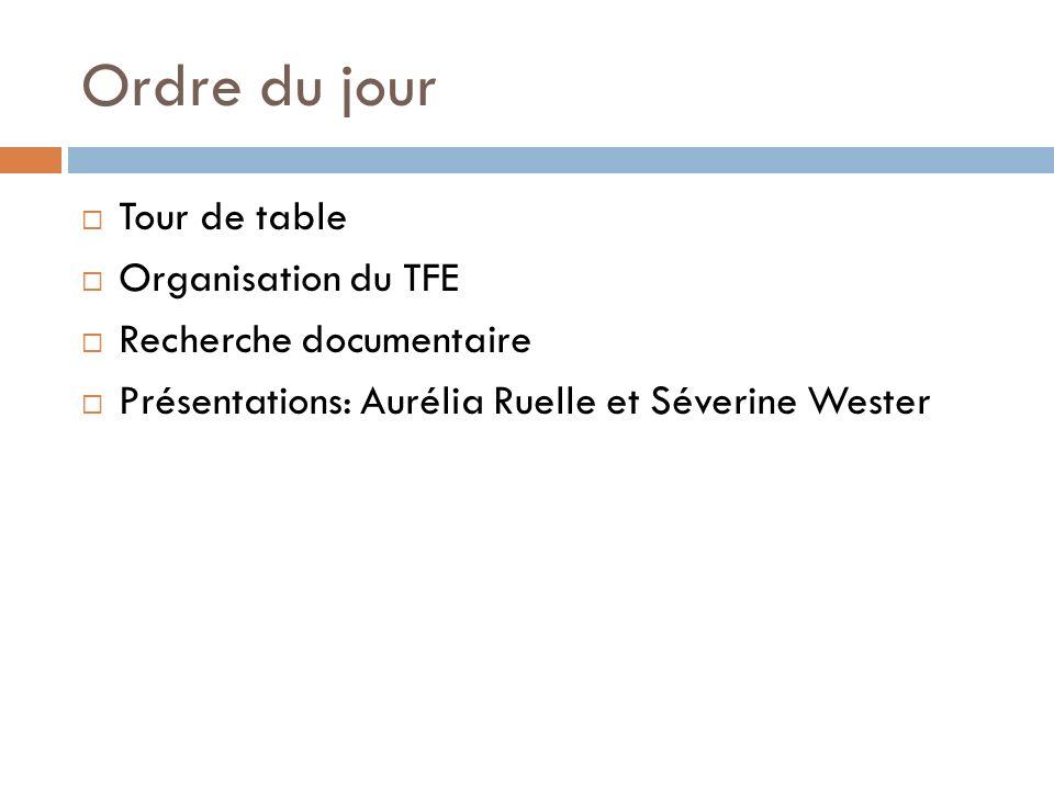 Ordre du jour Tour de table Organisation du TFE Recherche documentaire