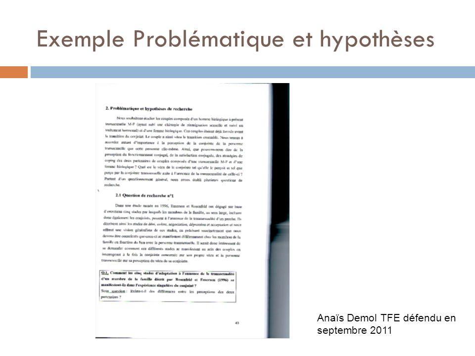 Exemple Problématique et hypothèses