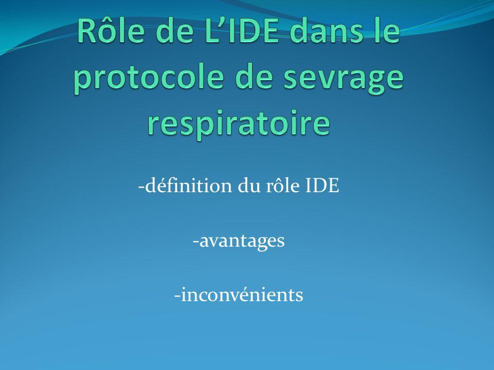 Rôle de L'IDE dans le protocole de sevrage respiratoire