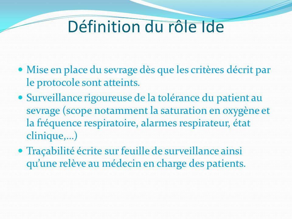 Définition du rôle Ide Mise en place du sevrage dès que les critères décrit par le protocole sont atteints.