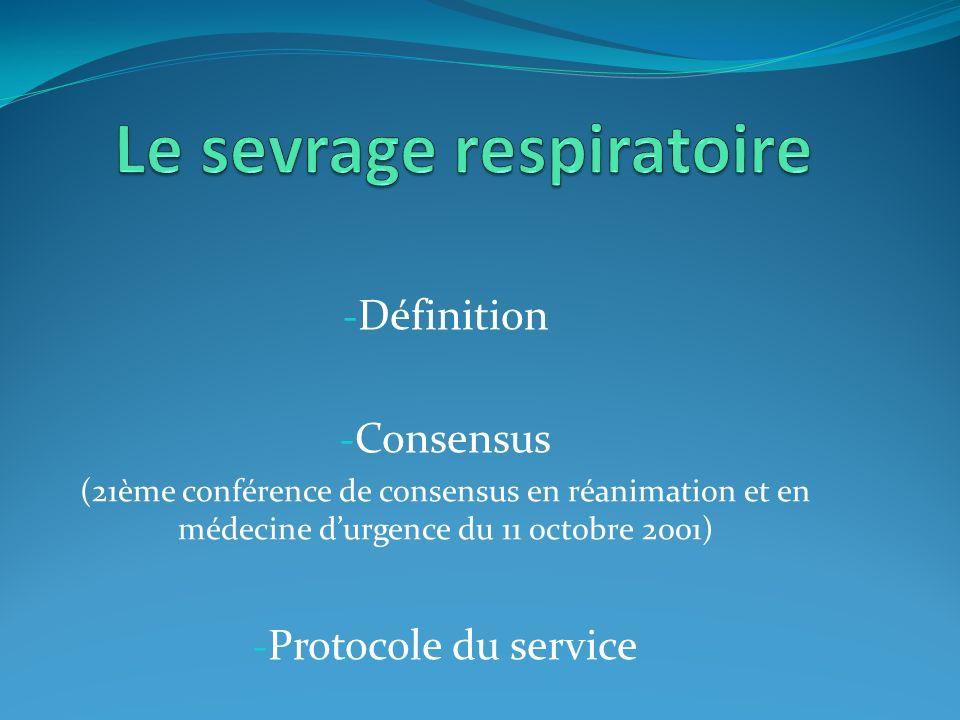 Le sevrage respiratoire