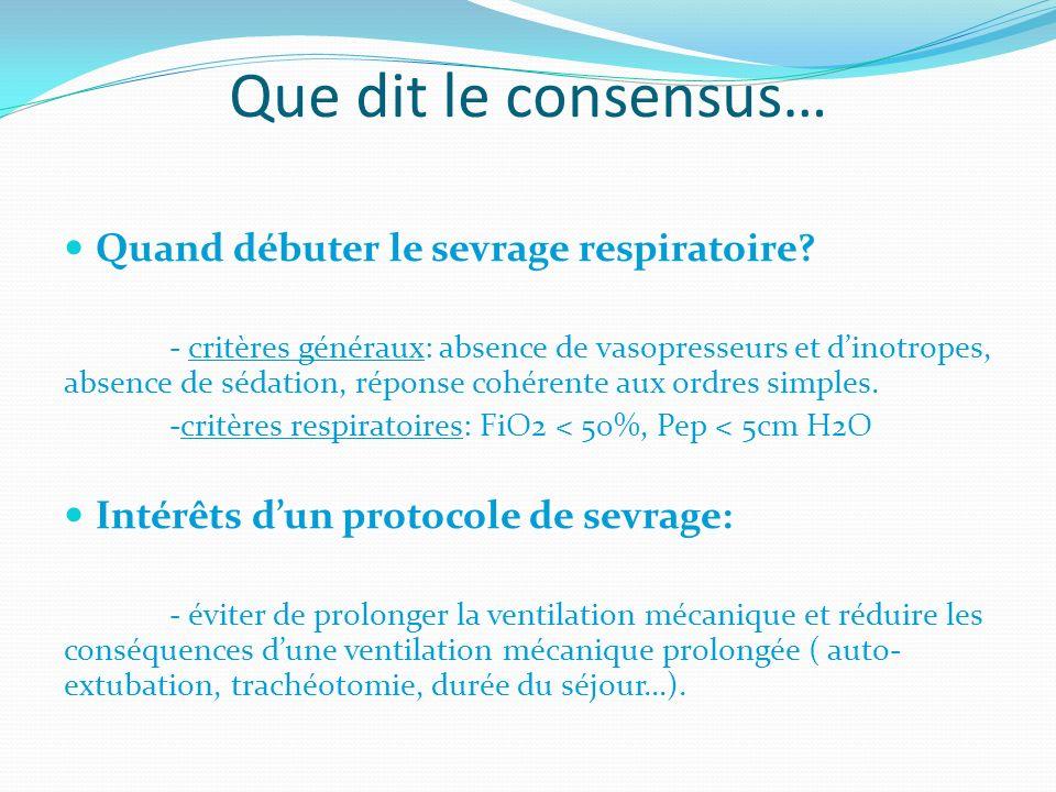 Que dit le consensus… Quand débuter le sevrage respiratoire