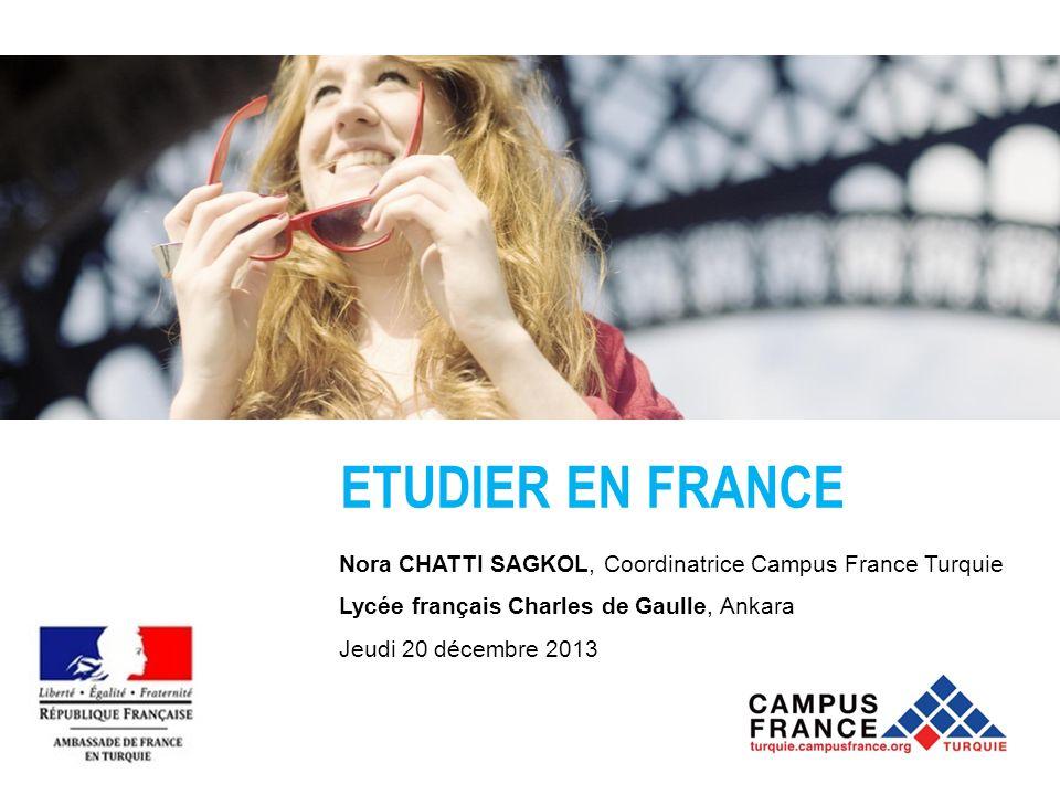 ETUDIER EN FRANCE Nora CHATTI SAGKOL, Coordinatrice Campus France Turquie. Lycée français Charles de Gaulle, Ankara.