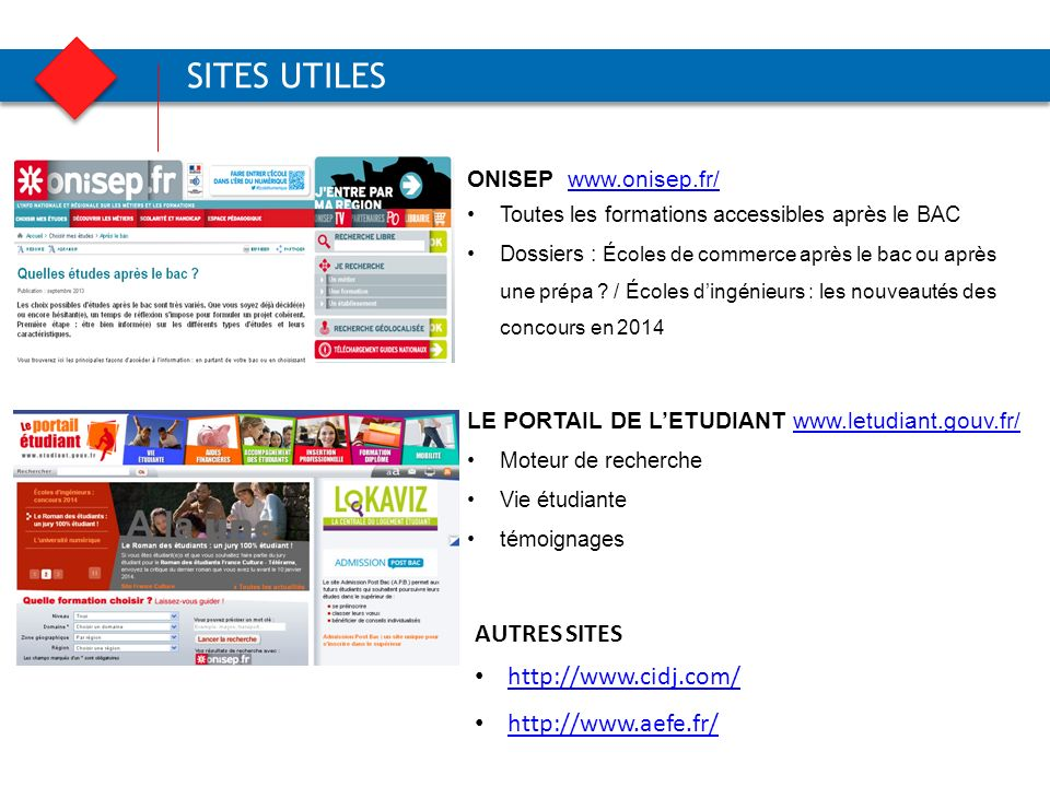SITES UTILES AUTRES SITES http://www.cidj.com/ http://www.aefe.fr/