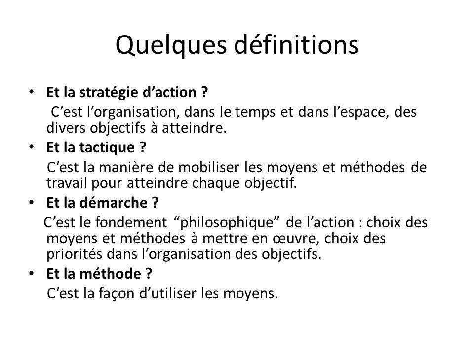Quelques définitions Et la stratégie d'action