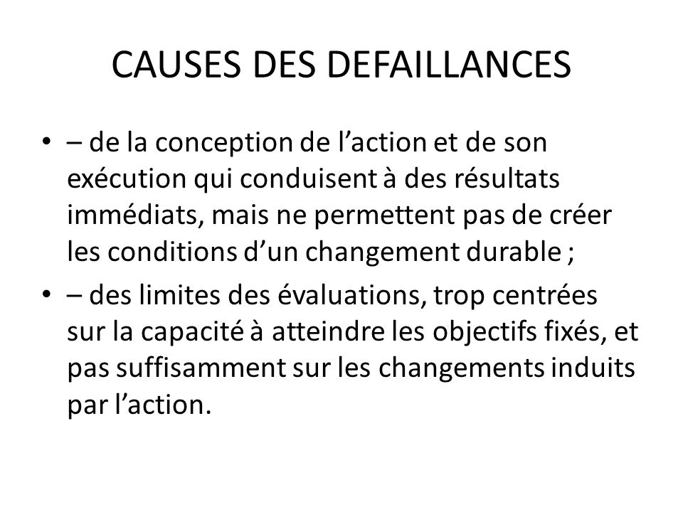 CAUSES DES DEFAILLANCES