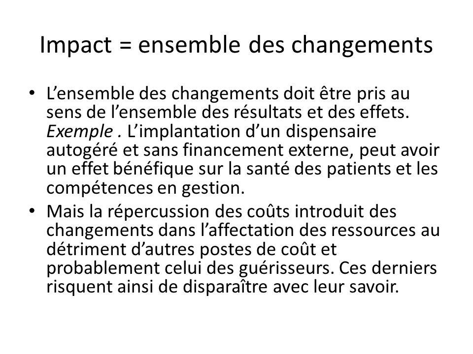 Impact = ensemble des changements