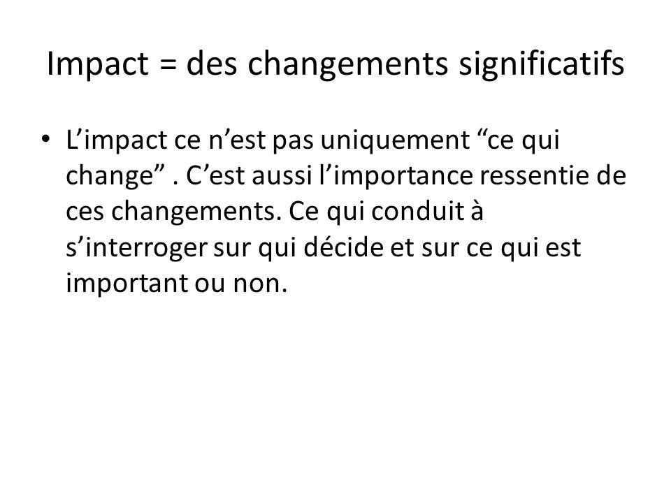 Impact = des changements significatifs