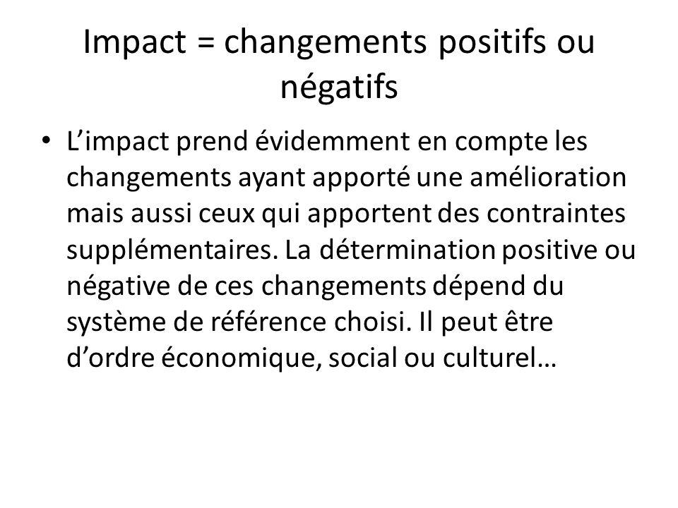 Impact = changements positifs ou négatifs