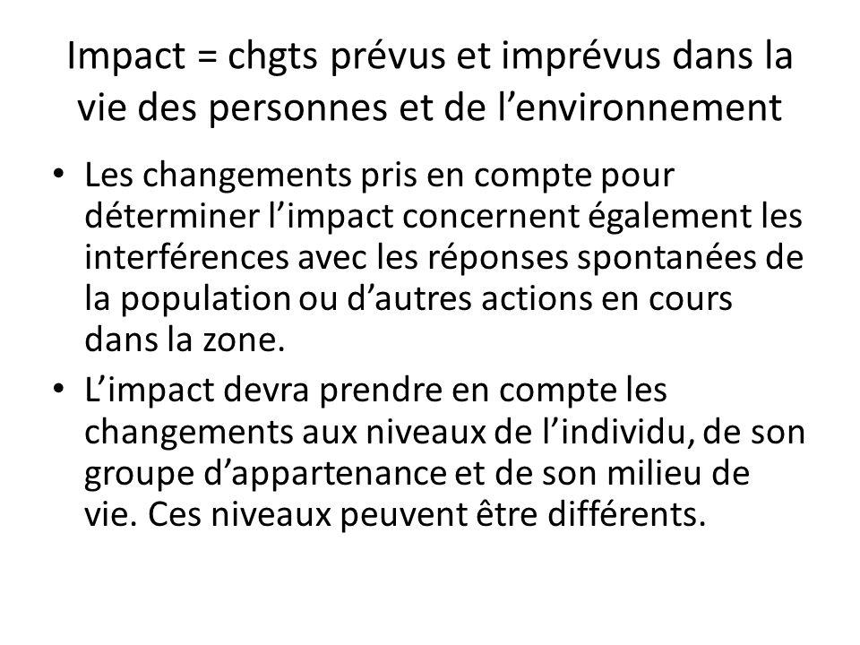 Impact = chgts prévus et imprévus dans la vie des personnes et de l'environnement