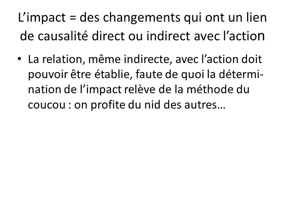 L'impact = des changements qui ont un lien de causalité direct ou indirect avec l'action