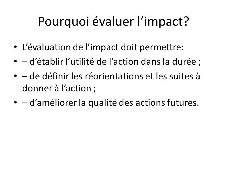 Pourquoi évaluer l'impact