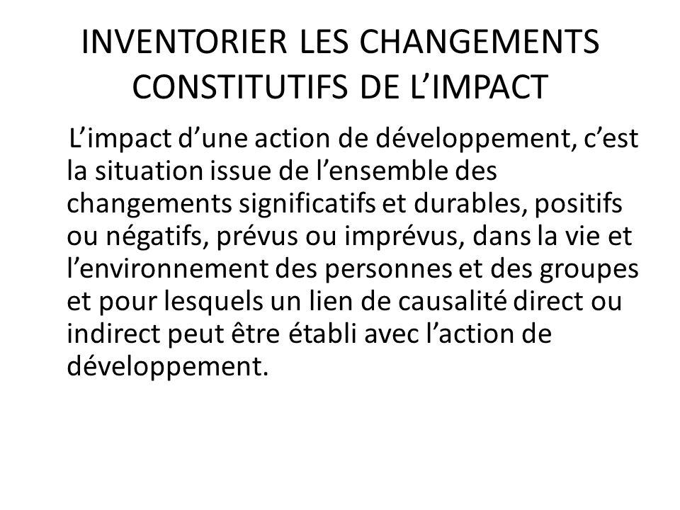 INVENTORIER LES CHANGEMENTS CONSTITUTIFS DE L'IMPACT